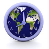 8 oclock. 3d rendered clock showing the time with earth background Stock Images