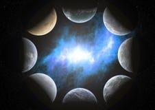 8 Planeten um einen Nebelfleck Stockbilder