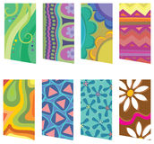 8 retro pattern tags. 8 colorful tags with retro patterns Stock Photo