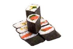 8 rodillos de sushi Imagenes de archivo