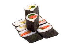 8 rolls of sushi. Isolated object on a white background Stock Images