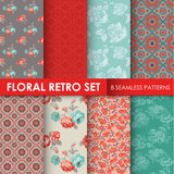 8 Seamless Patterns - Floral Retro Set Stock Photo