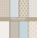 8 Seamless Patterns - Royal Vintage Set Stock Photos