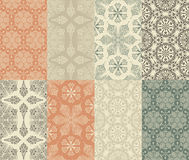 8  Seamless Winter Patterns. Set of 8 Seamless Winter Patterns with Snowflakes Stock Photo