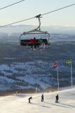 8-seater skidar chairliften Royaltyfri Foto