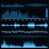 8 set sound waves för bakgrundseps-musik Fotografering för Bildbyråer