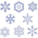 8 sneeuwvlokken Stock Foto