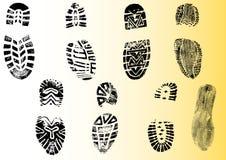 8 szczegółowych shoeprints Obrazy Stock