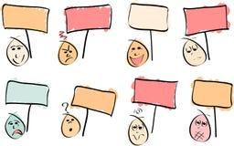 8 visages de griffonnage avec des signes illustration libre de droits