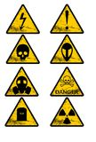 8 warning signals in industrial style. 8 warning signals against yellow background Stock Photos
