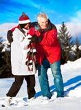 8 zabaw seniora zima Zdjęcia Royalty Free
