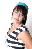 So 80'. Dark haired girl with blue hair band and navy top Royalty Free Stock Photo
