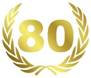 80 Anniversary. Illustration with laurel wreath Stock Photos