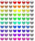 80 botones de cristal Imagenes de archivo