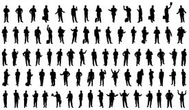 80 Businessmen silhouettes. Vector silhouettes of businessmen in various poses Royalty Free Stock Photo