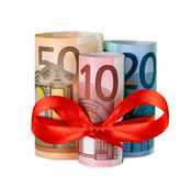 80 Euro With Red Ribbon Stock Images