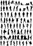 80 people silhouettes Royalty Free Stock Images