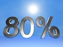 80 percent. 3d rendered numeric and percentage with sky bacground Royalty Free Illustration