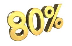 80 percent in gold (3D) Royalty Free Stock Images