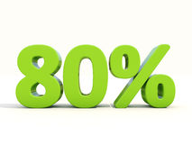 80% percentage rate icon on a white background. Eighty percent off. Discount 80%. 3D illustration Royalty Free Stock Image
