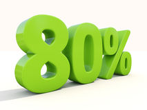 80% percentage rate icon on a white background. Eighty percent off. Discount 80%. 3D illustration Stock Photography