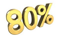 80 por cento no ouro (3D) Imagens de Stock Royalty Free