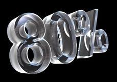 80 por cento no vidro (3D) Foto de Stock Royalty Free