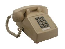 80's phone. Older 80's phone isolated white angled view Stock Photography