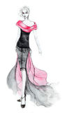 80's Style Fashion Illustration. Fashion illustration of excentric outfit inspired by the 80's Royalty Free Stock Images