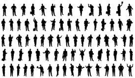 80 siluette degli uomini d'affari Fotografia Stock Libera da Diritti