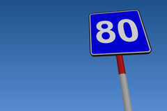 80 Speed Limit Road Sign. At low angle on blue background Vector Illustration