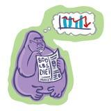 800 Pound Gorilla Reading And Thinking Stock Image