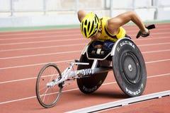 800 tester di corsa della sedia a rotelle degli uomini Fotografia Stock