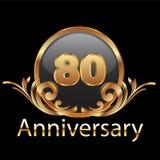 80th anniversary gold. Gold 80th anniversary happy birthday vector illustration