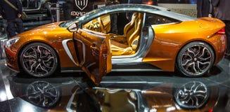 83. Genf Motorshow 2013 - Exagon dreht Heimlich-Abgastemperatur durch Lizenzfreie Stockfotos