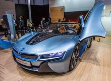 83. Genf Motorshow 2013 - Konzept-Auto BMWs i8 Stockbild