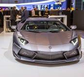 83. Genf Motorshow 2013 - Maurerarbeit Lamborghinis Aventador Lizenzfreie Stockfotografie