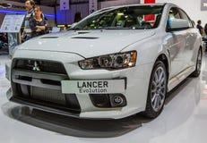 83.o Ginebra Motorshow 2013 - evolución de Mitsubishi Lancer Imagen de archivo libre de regalías
