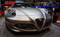 83rd Geneva Motorshow 2013 - alfabetisk Romeo 4C Arkivbild