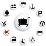 84_B. Transport icons. Set buttons - 84_B. Transport icons. Icons and symbols used at stations and aeroports