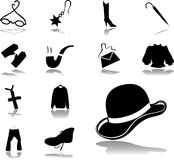 85. Clothing and shoes. Set icons - 85. Clothing and shoes.  Fashionable clothing, shoes, hats, jewelry and accessories Royalty Free Stock Photography