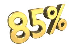 85 percent in gold (3D) vector illustration