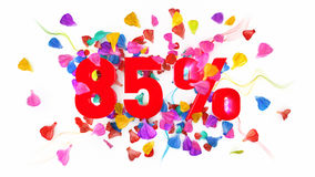 85 percent off. On white isolated background full with colored petals royalty free illustration