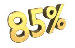 85 por cento no ouro (3D) Fotografia de Stock Royalty Free