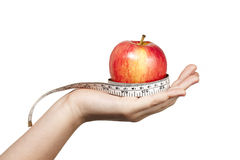 893 weight loss concept of fresh apple and tape measure Stock Image