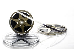 8mm Film Reels. Three 8mm film rolls on bright white background Royalty Free Stock Images