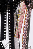 8mm film scan. Collection of broken segments from a reel of 8mm film Royalty Free Stock Photography