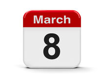8th March. Calendar web button - Eighth of March, three-dimensional rendering Stock Image
