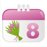 8th of march calendar icon. With bunch of tulips vector illustration