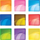 9个按钮色的正方形 库存图片